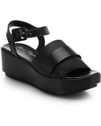 Robert Clergerie Leather & Elastic Platform Sandals - Lyst