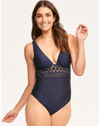 Ted Baker - Lace Trim Low V Embroidered Swimsuit - Lyst