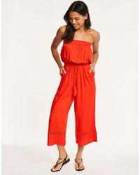 Figleaves - Long Beach Bandeau Culotte Jumpsuit - Lyst