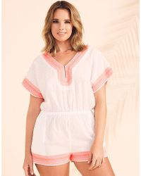 Figleaves - Textured Spot Cotton Playsuit - Lyst