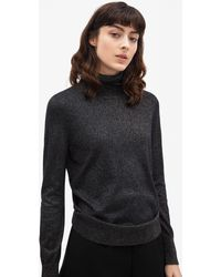 Filippa K - Lurex Roller Neck Sweater Navy/gold Lurex - Lyst