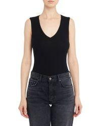Getting Back to Square One - Neoprene V-neck Bodysuit In Black - Lyst