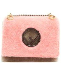 Fendi - Small Colorblock Shearling Crossbody Bag - Lyst