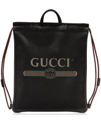 Gucci - Vintage Logo Printed Drawstring Backpack - Lyst