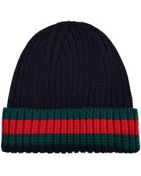 09be0dec3bd Lyst - Gucci Knit Wool Web Hat in Black for Men
