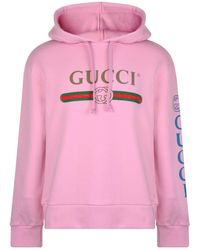 Gucci - Fake Logo Embroidered Hooded Sweatshirt - Lyst