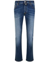 Jacob Cohen - Distressed Slim Jeans - Lyst