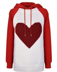 Burberry - Heart Intarsia Cotton Blend Hoodie - Lyst