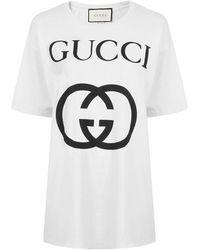 1aa4002efa16 Gucci Trevor Diamond Cotton-jersey T-shirt in Black - Lyst