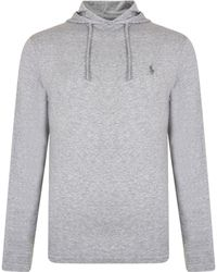 2529cf618cc62 Polo Ralph Lauren Embroidered Logo Hoodie in Gray for Men - Lyst