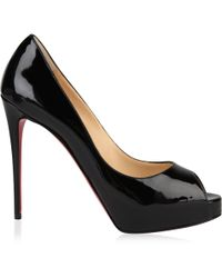 1cc1b7e52876 Lyst - Christian Louboutin Very Prive Leather Platform Red Sole Pump ...