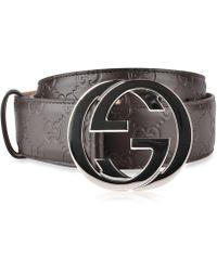 04140646716 Logo Embossed Tang Buckle.  450. Farfetch · Gucci - Interlocked Embossed  Belt - Lyst