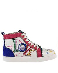 Christian Louboutin - Graphic Print Leather Hi Top Trainers - Lyst