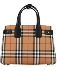 52f3cb6489f6 Lyst - Burberry Banner Medium Leather Check Trim Tote in Natural