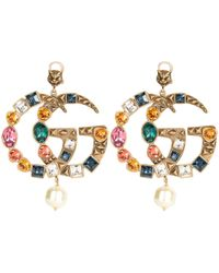 Gucci - Crystal Gg Earrings - Lyst
