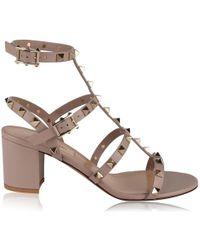 281d52af8 Valentino Rockstud T-strap 90mm Sandal in Natural - Lyst