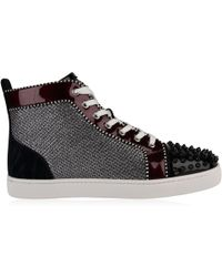 2cc18bbff716 Christian Louboutin - Spikes Orlato Patent Glitter High Top Trainers - Lyst
