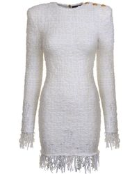 f77c12b0 Lyst - Balmain Fringed Tweed Fitted Dress in Pink