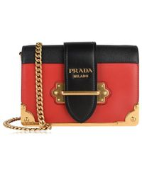 fb85b11b8446 Prada Cahier Two-Toned Leather Shoulder Bag in Red - Lyst