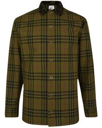 Burberry - Contrast Collar Vintage Check Cotton Shirt - Lyst