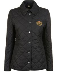 Burberry - Embroidered Crest Quilted Jacket - Lyst