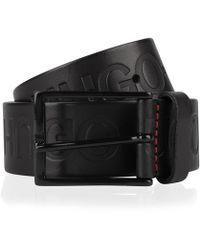 HUGO - Reverse Logo Embossed Leather Belt - Lyst