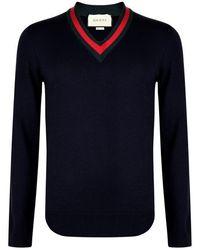 Gucci Web Trim Knit Sweatshirt