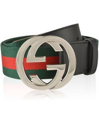 1f423de782b Lyst - Gucci Gg-buckle Web-canvas Belt in Green for Men