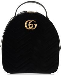 e35d57815 Gucci GG Marmont Leather Backpack in Black - Lyst