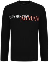 74e625dab Emporio Armani - Mega Logo Long Sleeve T Shirt - Lyst