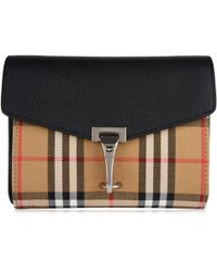 Burberry - Mini Leather Vintage Check Cross Body Bag - Lyst