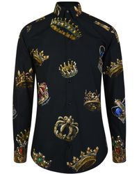 Dolce & Gabbana - Crown Print Fitted Shirt - Lyst