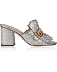 Gucci - Gg Heeled Mules - Lyst