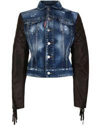 DSquared² - Fringe Leather Denim Jacket - Lyst