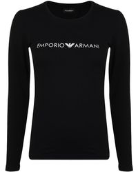Emporio Armani - Logo Long Sleeved T Shirt - Lyst