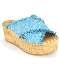 Footnotes - Straw Cork Wedge - Lyst