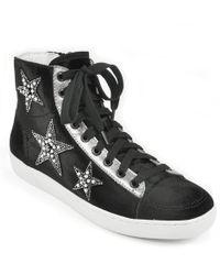 Lola Cruz - Embellished Star Velvet Sneaker - Lyst