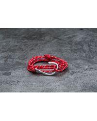 Footshop - Miansai Hook On Rope Bracelet Silver/ Crimson - Lyst