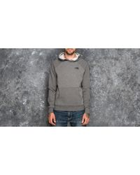 Footshop - The North Face Raglan Red Box Hoodie Medium Grey Heather - Lyst