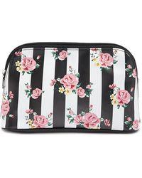 Forever 21 - Rose Print Striped Makeup Bag - Lyst