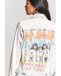 Forever 21 - Def Leppard Graphic Acid Wash Denim Jacket - Lyst