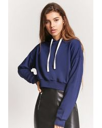 8643f91d33918 Forever 21 - Women s French Terry Cropped Hoodie - Lyst