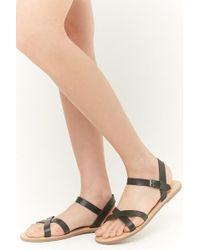 Forever 21 - Women's Faux Leather Crisscross Strap Sandals - Lyst