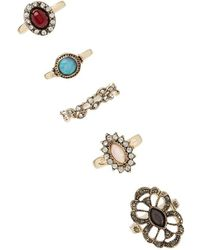 Forever 21 - Etched Faux Stone Ring Set - Lyst