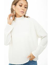 703c2b63bd783 Lyst - Forever 21 Turtleneck Knit Top in White