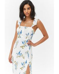 a3920516453 Forever 21 Sheer Floral Chiffon Maxi Shirt Dress in Yellow - Lyst