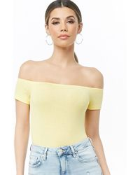 304264aa34d Forever 21 Women's Puff Sleeve Off-the-shoulder Top in Red - Lyst
