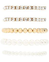 Forever 21 - Faux Pearl & Rhinestone Bracelet Set - Lyst