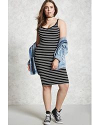 b4e0dacccd78a Forever 21 Plus Size Striped Dress in Black - Lyst