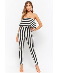 629d683dd6ae1 Forever 21 - Strapless Flounce Striped Jumpsuit - Lyst